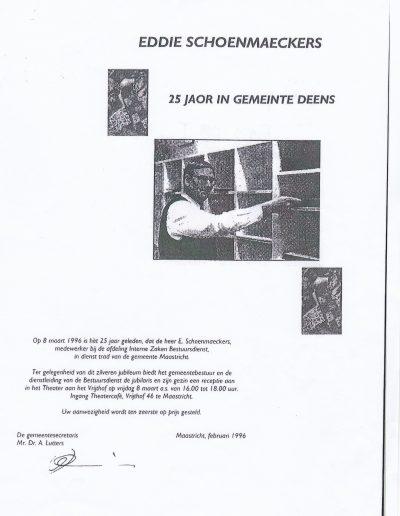 Eddie Schoenmaeckers 25 jaar dienstverband Maastricht
